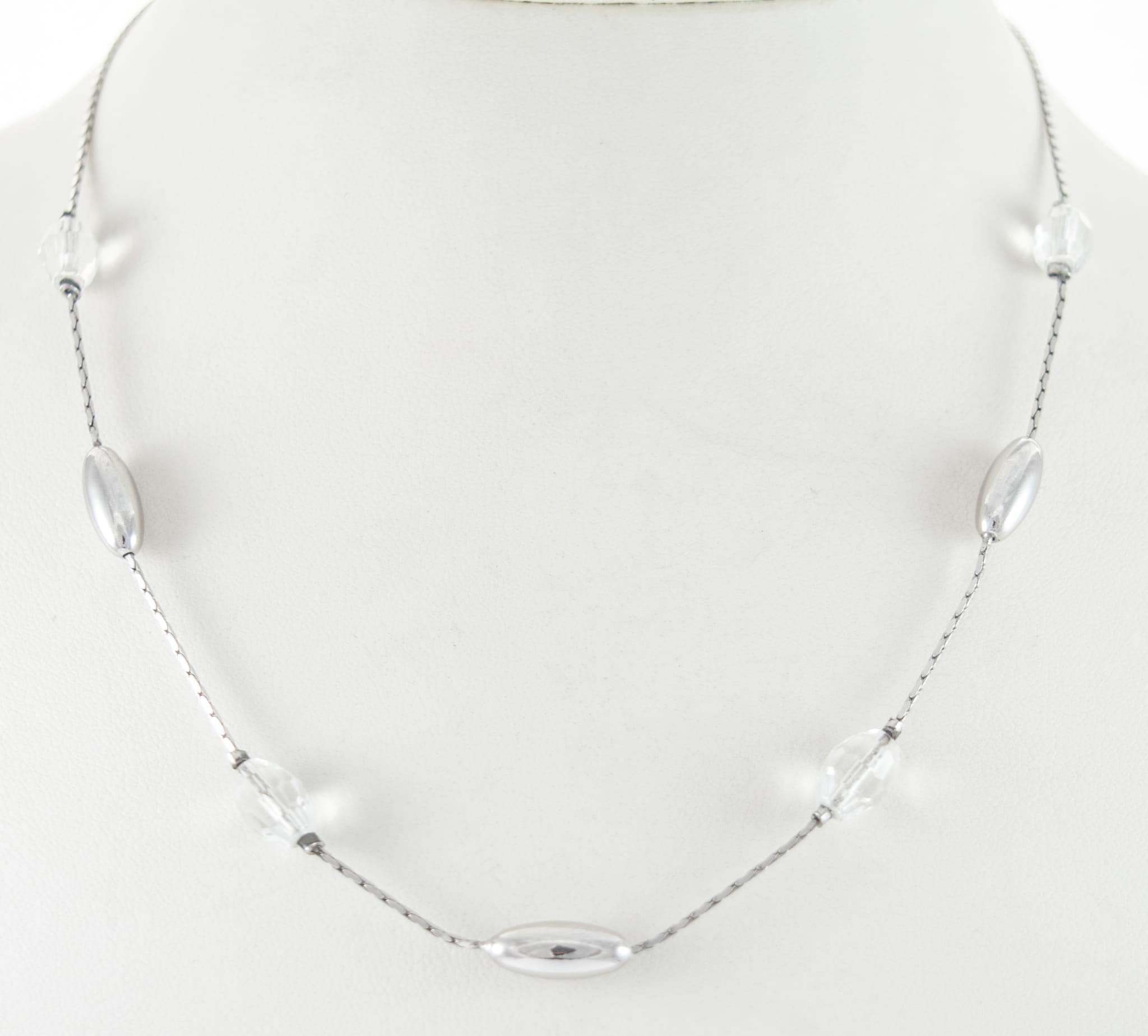 Genialny Srebrny naszyjnik z kryształami Swarovskiego AH99